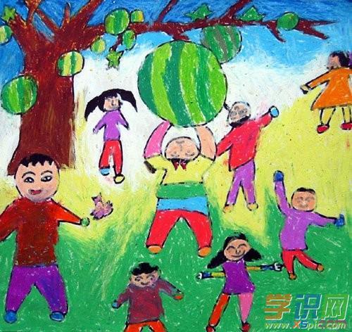 儿童油画棒人物画