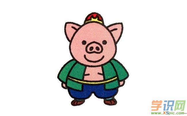 猪八戒简笔画步骤图解_猪八戒简笔画画法