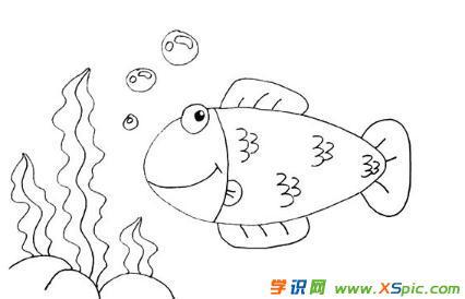 海草和小鱼的画法步骤简笔画绘画教程