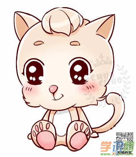 简单的小猫咪卡通绘画教程:可爱的小喵