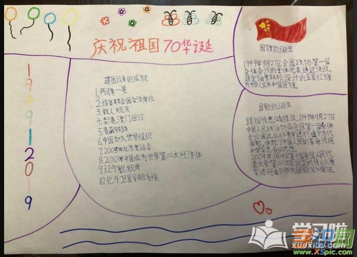 2019新中国成立70周年手抄报-国庆节句子