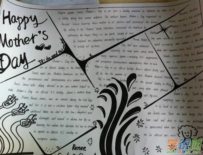 关于母亲节英语手抄报图片