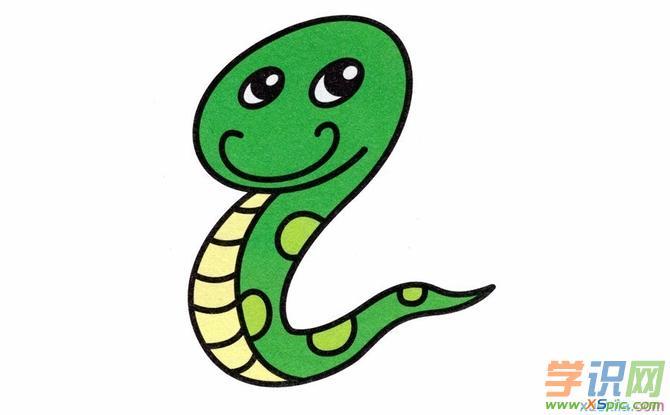 很萌的小蛇彩铅动物画教程
