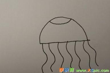 幼儿简笔画水母画法