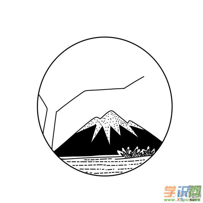 黑白风景简笔画教程:日出