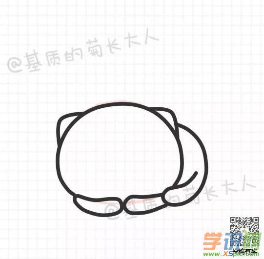 小猫咪手绘画教程:来吸小灰球吧