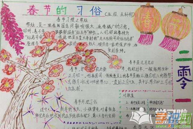 2019年猪年春节手抄报模板-迎春接福