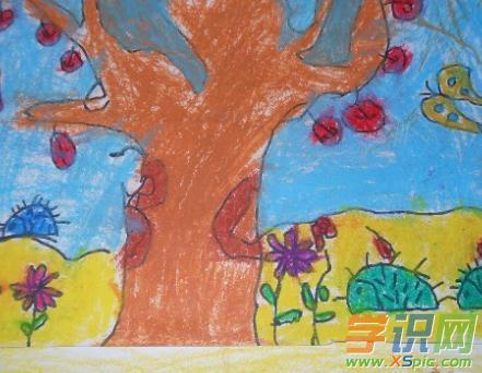 秋天为主题的油画棒画图片