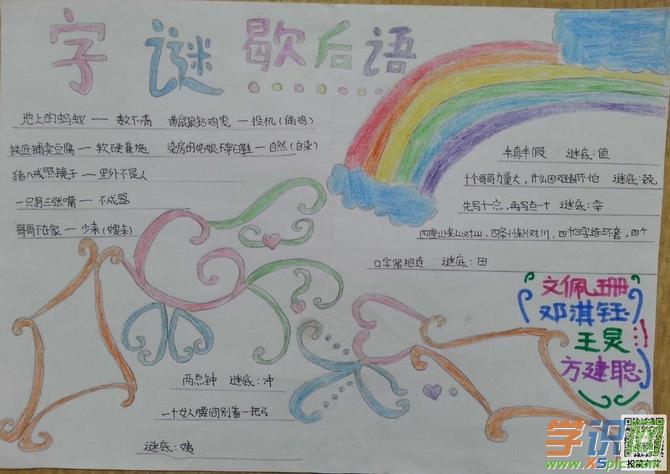 四年级语文手抄报-漫游语文街