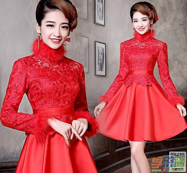 红色新娘敬酒礼服图片造型