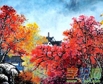枫叶中国画图片