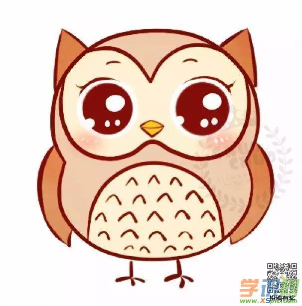 简单的动物绘画图解教程:可爱的猫头鹰