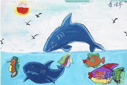 大鲨鱼儿童画