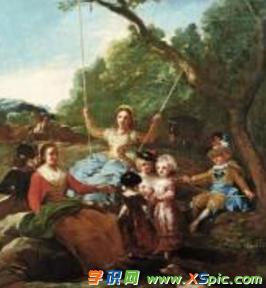 外国男女荡秋千的油画图片