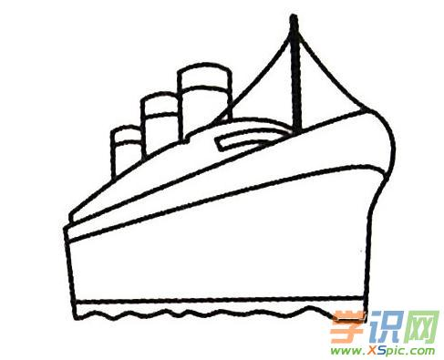 轮船的画法步骤儿童画绘画教程