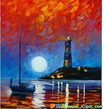 灯塔和小船的油画图片