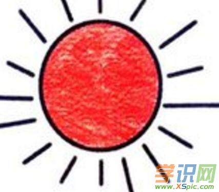 太阳带颜色简笔画图片