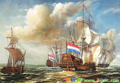 关于船的油画图片