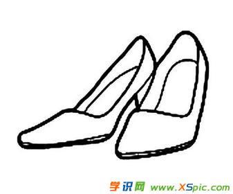 女士高跟鞋简笔画图片