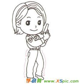 女警察的简笔画绘画教程
