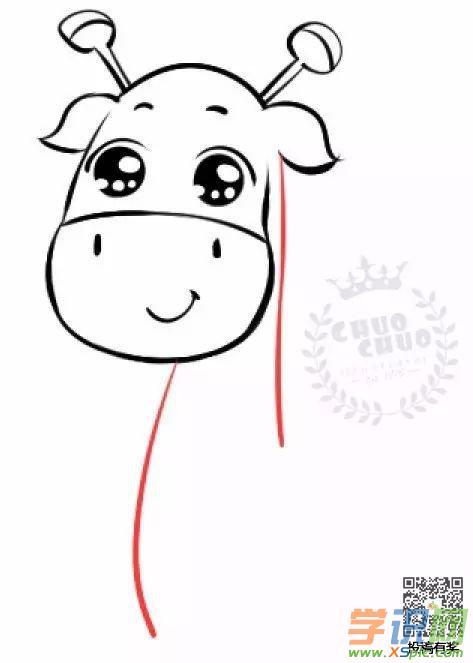 动物绘画教程步骤简单画法:可爱的长颈鹿
