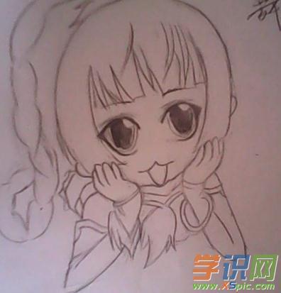 简单的三岁小女孩铅笔画图片