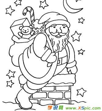 圣诞老人简笔画涂色图片