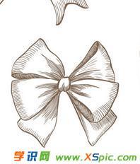 蝴蝶结铅笔画的图片