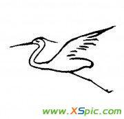 白鹭飞行的简笔画法