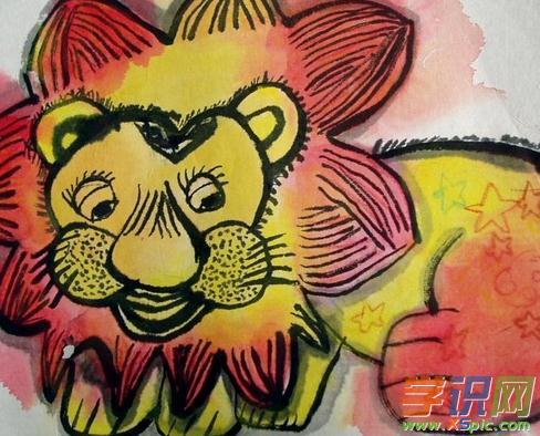 儿童中国画狮子图片