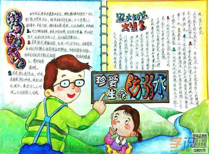 小学生防溺水手抄报-关爱生命 预防溺水