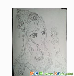 女孩铅笔画画画图片大全