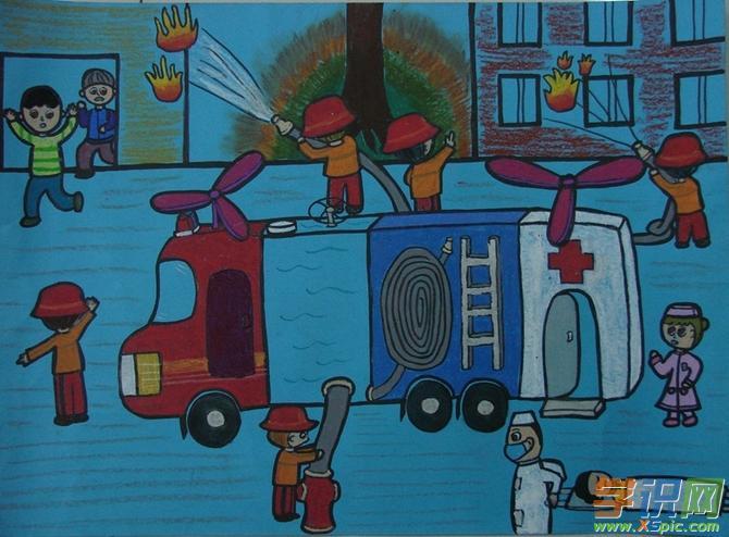 我心中的消防绘画作品高中