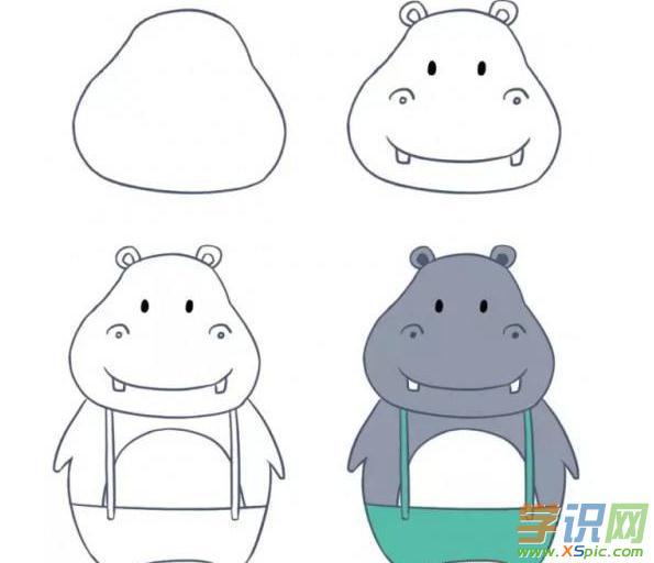 学识网 爱好 学画画 动物画     河马胖乎乎的,它长着大大的耳朵像一