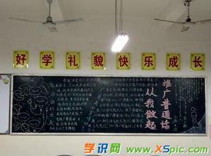 讲普通话写规范字黑板报图片内容