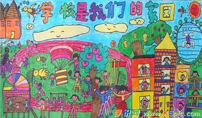 二年级美丽的校园图画作品欣赏