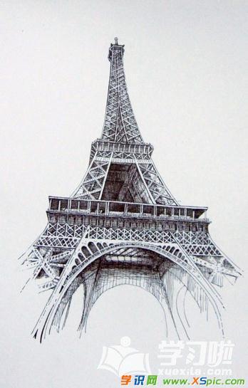 埃菲尔铁塔图片素描_好看的埃菲尔铁塔图片素描