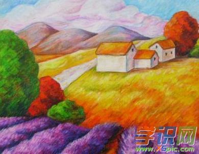 关于深秋季节的油画棒图片