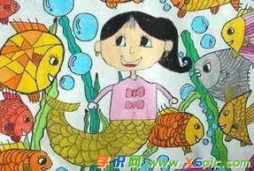 儿童画画小美人鱼图片