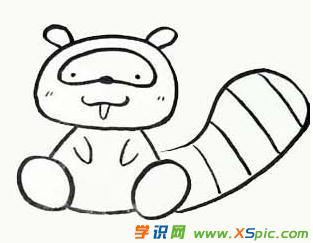 浣熊的画法步骤简笔画绘画教程