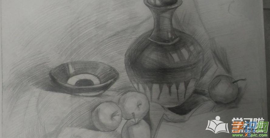素描静物罐子苹果图片