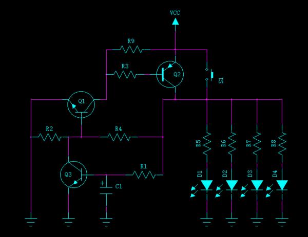 求个rc延时电路求rc延时电路,要求如下:按动开关之后,点亮4个并联的