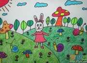 儿童风景画背景图片