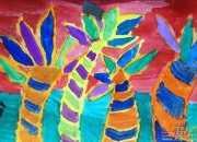 儿童画水粉画椰子树