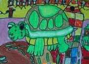 乌龟的油画棒图片大全
